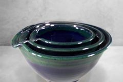 Spouted Mixing Bowl 3-pc. Set Smooth Design in Dark Blue and Green Glaze.
