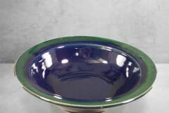 Large Pasta Bowl Smooth Design in Dark Blue and Green Glaze