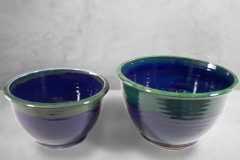 Deep Bowls, Sizes Small or Medium, Smooth Design Dark Blue and Green Glaze