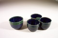 Individual Condiment Bowl or 3-pc Condiment Bowl Tray Smooth Design in Dark Blue and Green Glaze