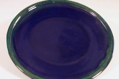 Dinner Plate in Smooth Design with Dark Blue and Green Glaze
