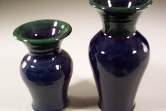 Vases, Small or Medium, Smooth Design in Dark Blue and Green Glaze