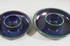 Chip and Dip Small or Large Smooth Design in Dark Blue and Green Glaze