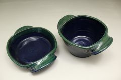 Small Open Casserole or Small Deep Open Casserole Smooth Design in Dark Blue and Green Glaze