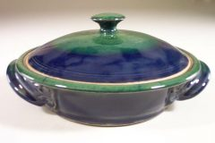 Tortilla Warmer, Smooth Design, Dark Blue and Green Glaze