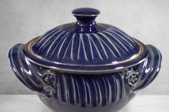 Small Casserole with Lid Fluted Design in Dark Blue Glaze