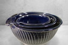 Spouted Mixing Bowls 3-pc Set, Fluted Design in Dark Blue Glaze