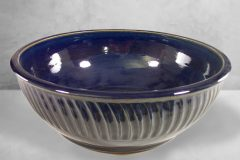 Large Bowl Fluted Design in Dark Blue Glaze
