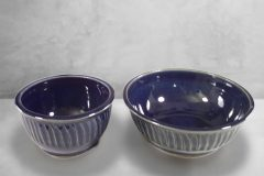 Cereal Bowl or Serving Bowl Fluted Design in Dark Blue Glaze.