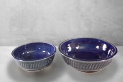 Low Bowls, Small or Regular Sizes, in Fluted Design Dark Blue Glaze