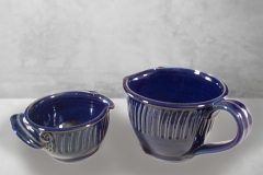 Spouted Bowls with Handles, Small or Large Sizes, Fluted Design in Dark Blue Glaze.