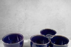 Individual Condiment Bowl or 3-pc Condiment Tray Fluted Design in Dark Blue Glaze