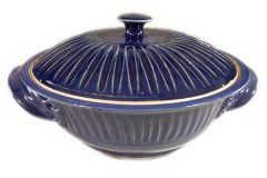 Large Casserole with Lid Fluted Design in Dark Blue Glaze