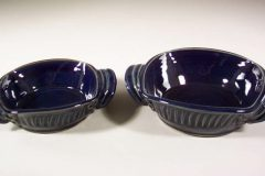 Open Casseroles, Small or Medium, Fluted Design, in Dark Blue Glaze