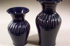 Vases Fluted Design, Small or Medium Sizes in Dark Blue Glaze