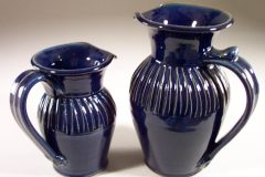 Pitcher, Small or Large, Fluted Design in Dark Blue Glaze