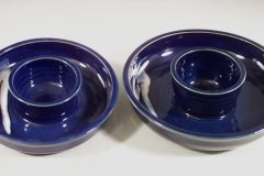Chip and Dip Small or Large Sizes, Fluted Desig in Dark Blue Glaze