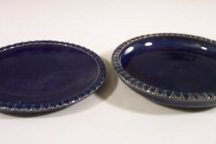 Small Dinner Plate, or Salad Plate Fluted Design in Dark Blue Glaze