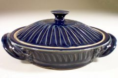 Tortilla Warmer, Fluted Design in Dark Blue Glaze