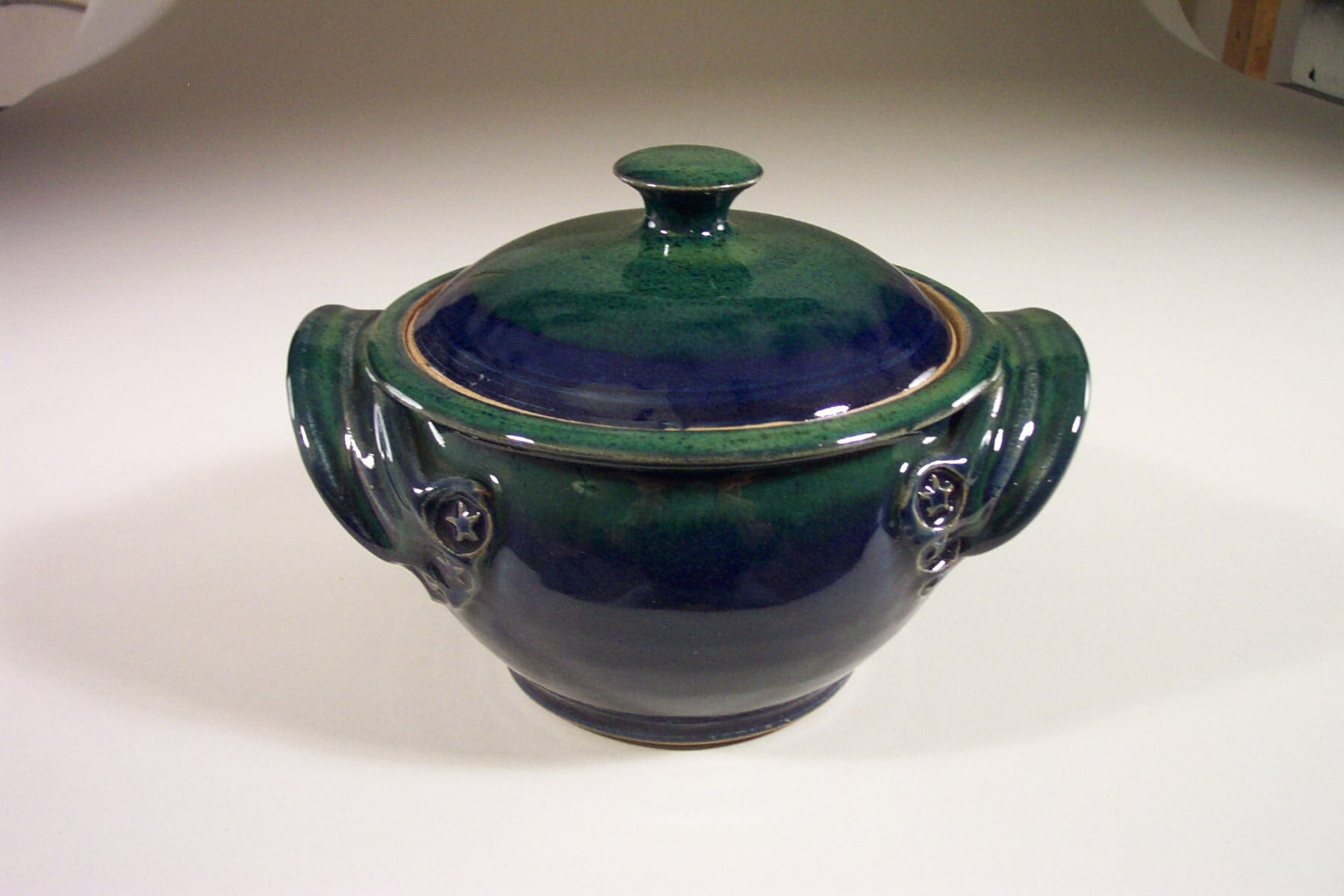 Small Casserole with Lid Smooth Design in Dark Blue with Green Glaze