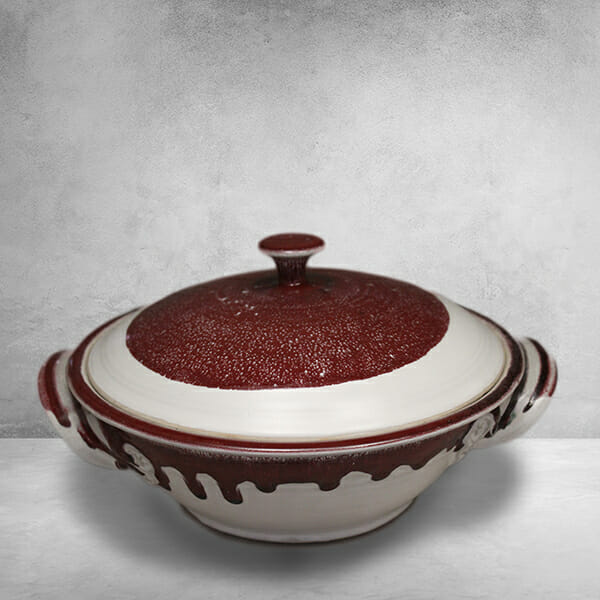 Casserole with Lid, Smooth Design, White and Red Glaze