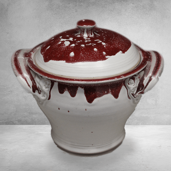 Small Casserole 1 with Lid Smooth Design in White and Red  Glaze