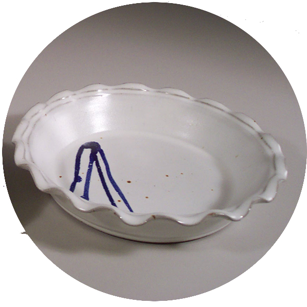 Large Pie Plate in White Glaze with Rippled Edge and Dark Blue Stripes