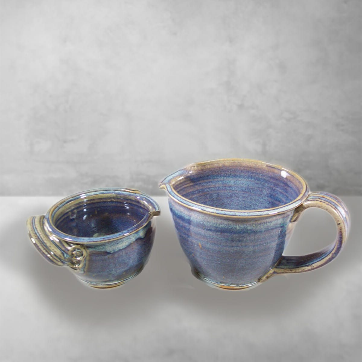 Spouted Bowl with Handle, Small and Large Sizes, Smooth Design in Rutile Blue Glaze