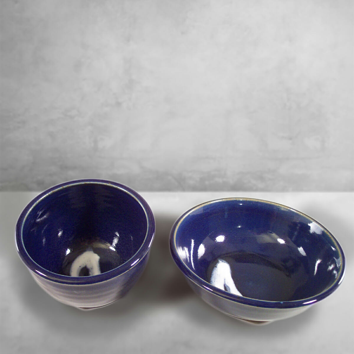 Deep Bowls,Sizes Small and Medium, Smooth Design  in Dark Blue Glaze with white Stripes
