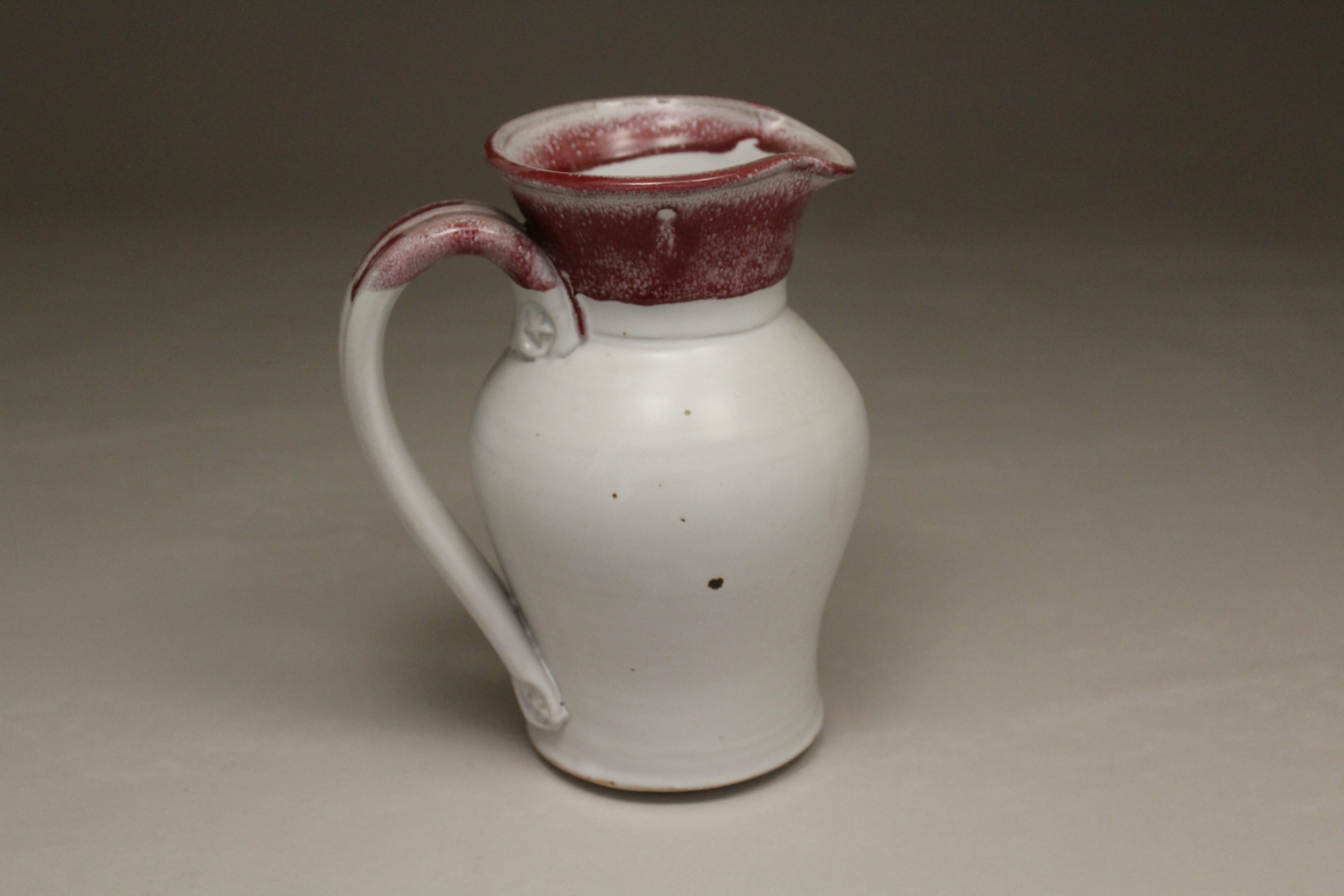 Small Pitcher Smooth Design in White and Red Glaze