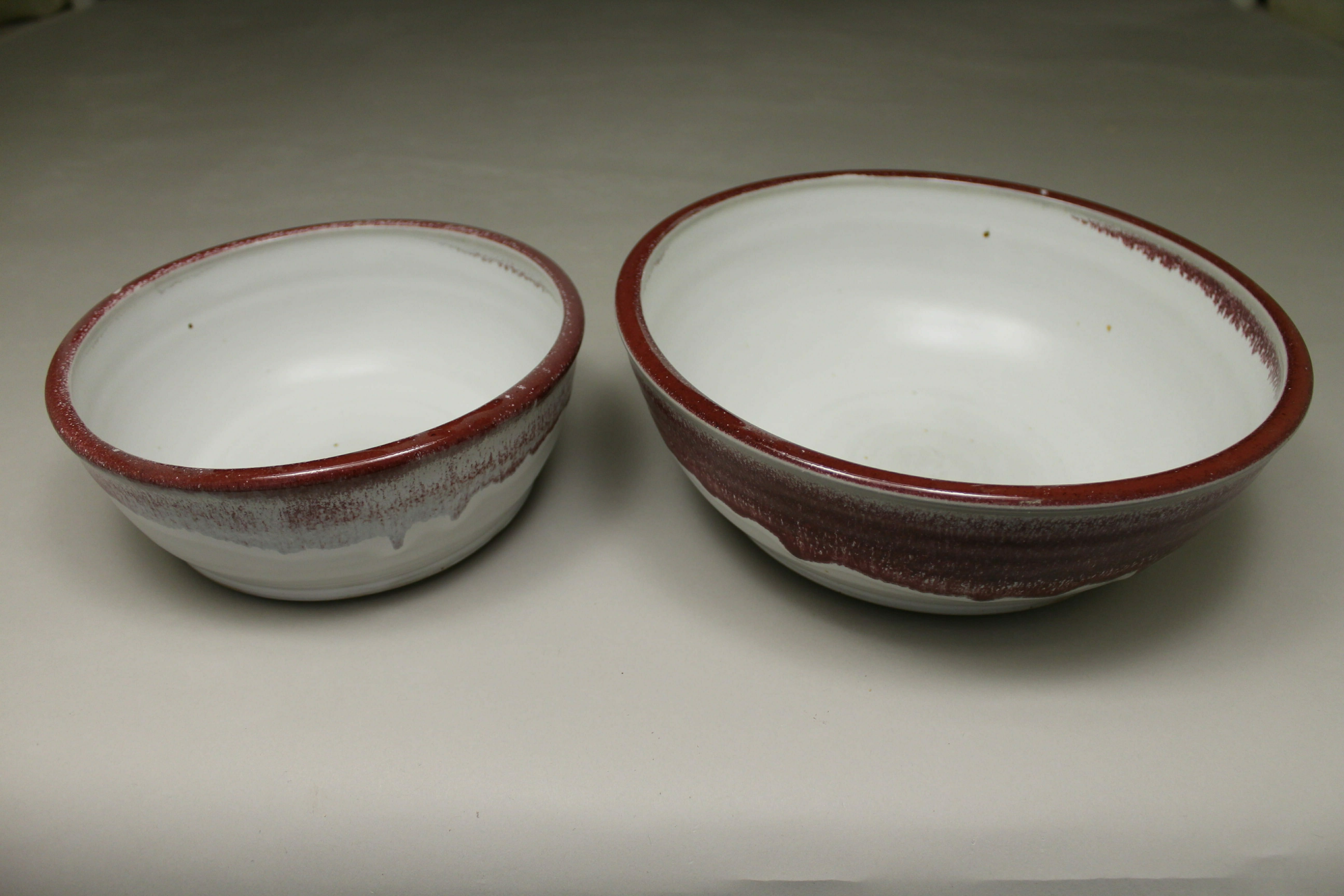 Low Bowls, Small and Regular Sizes, in Smooth Design White and Red Glaze