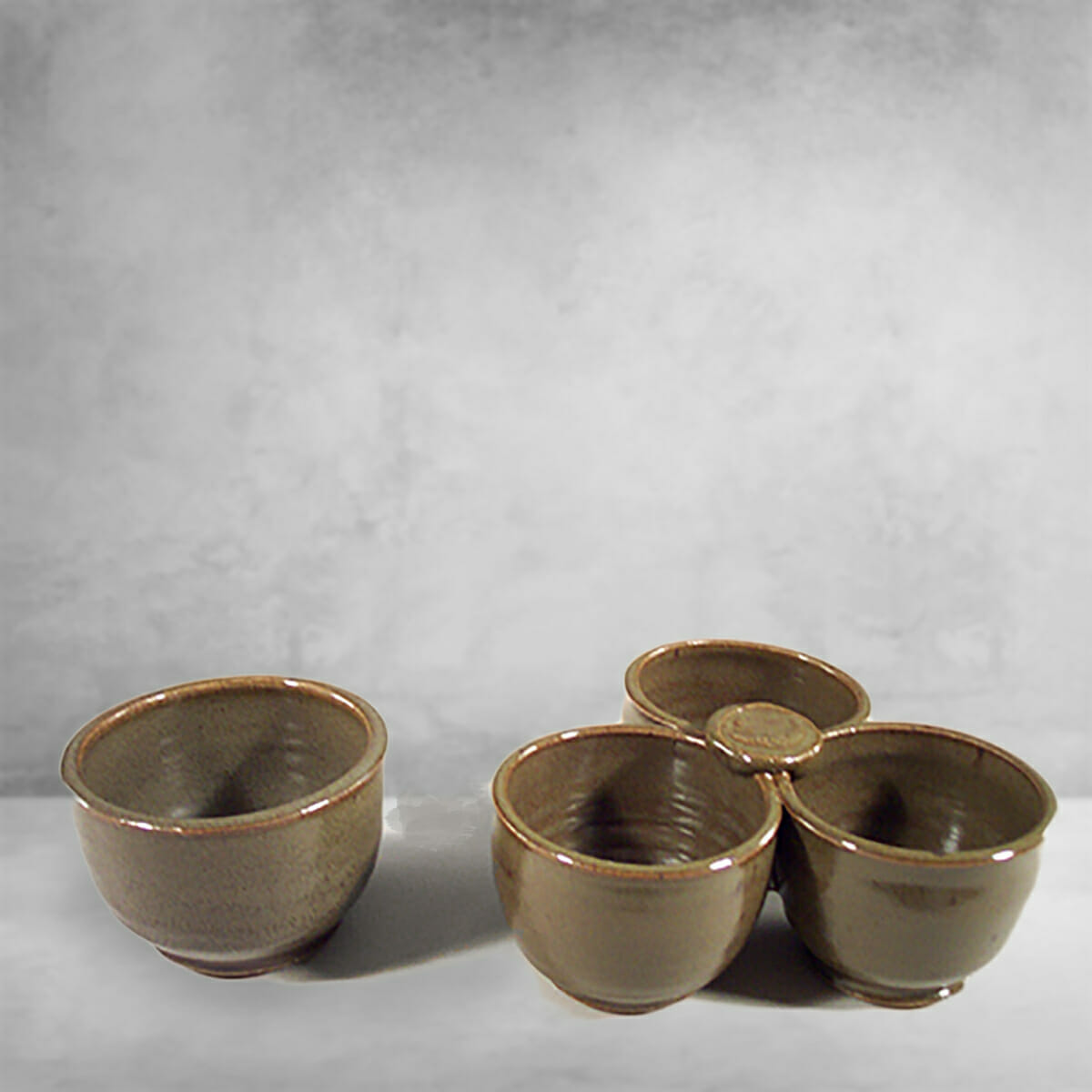 Individual Condiment Bowl or 3-pc Condiment Tray Fluted Design in Green Glaze