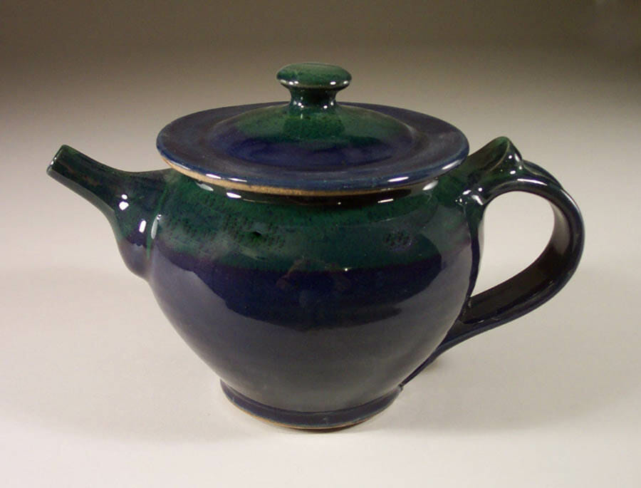 Teapot with Lid Smooth Design in Dark Blue and Green Glaze