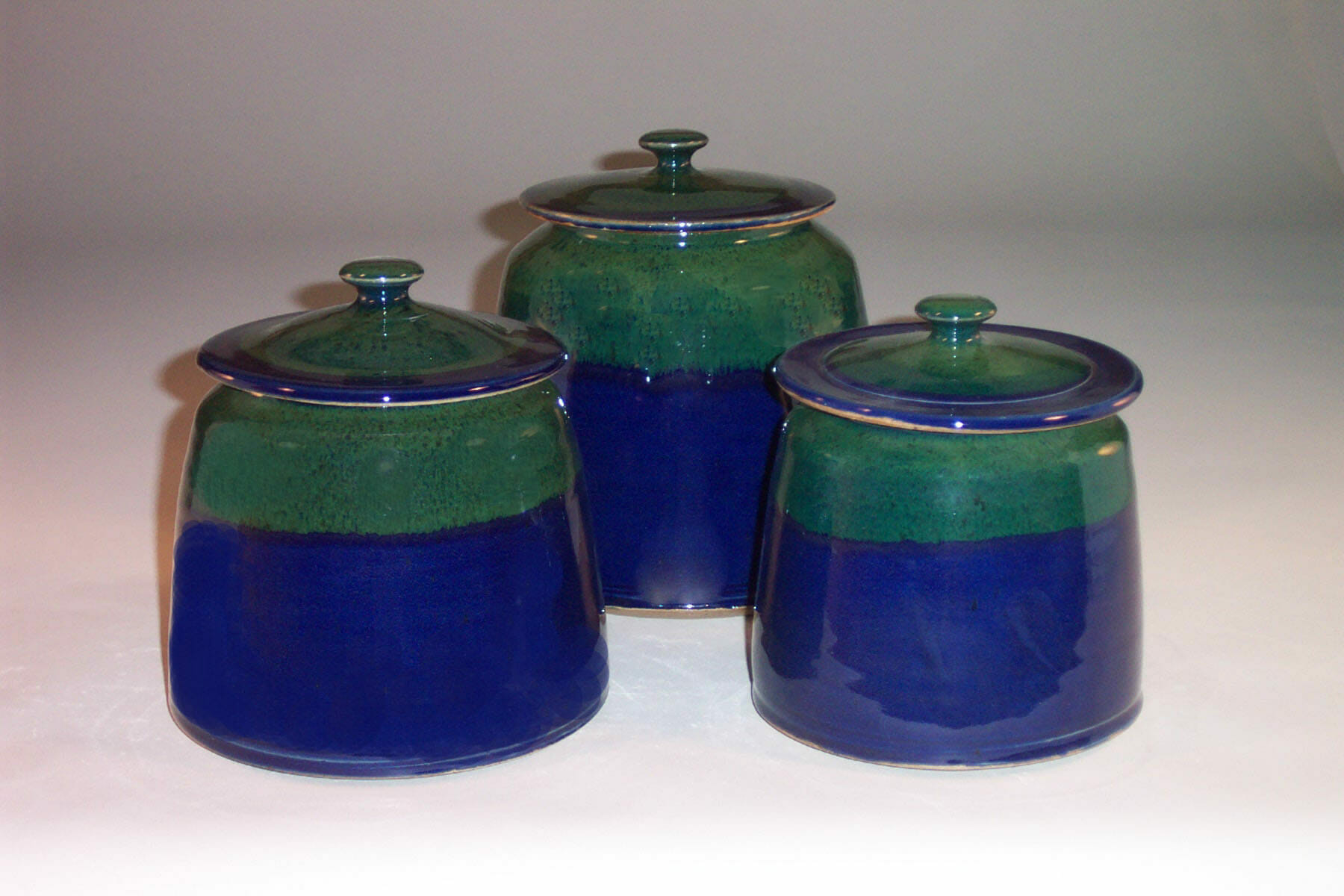 Cannister 3-pc Set with Lids Smooth Design Dark Blue and Green Glaze