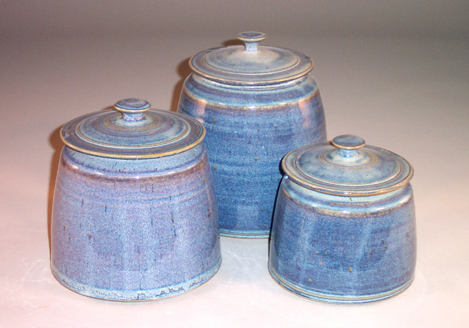 Cannister 3-pc Set with Lids in Rutile Blue Glaze Smooth Design