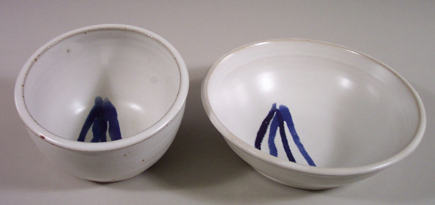 Cereal Bowl or Serving Bowl in Smooth Design White Glaze with Dark Blue Stripes