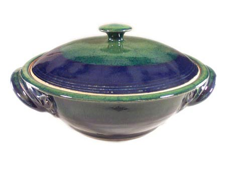 Large Casserole with Lid Smooth Design in Dark Blue and Green Glaze