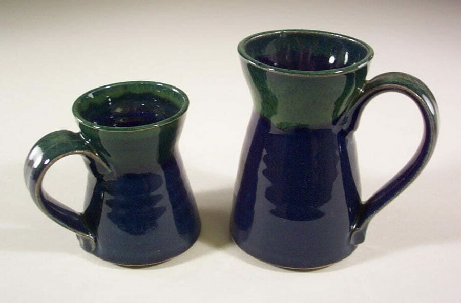 Mug, Small or Large Sizes, Smooth Design in Dark Blue and Green Glaze