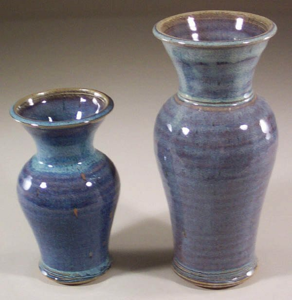 Vases, Small and Medium Smooth Design in Rutile Blue Glaze