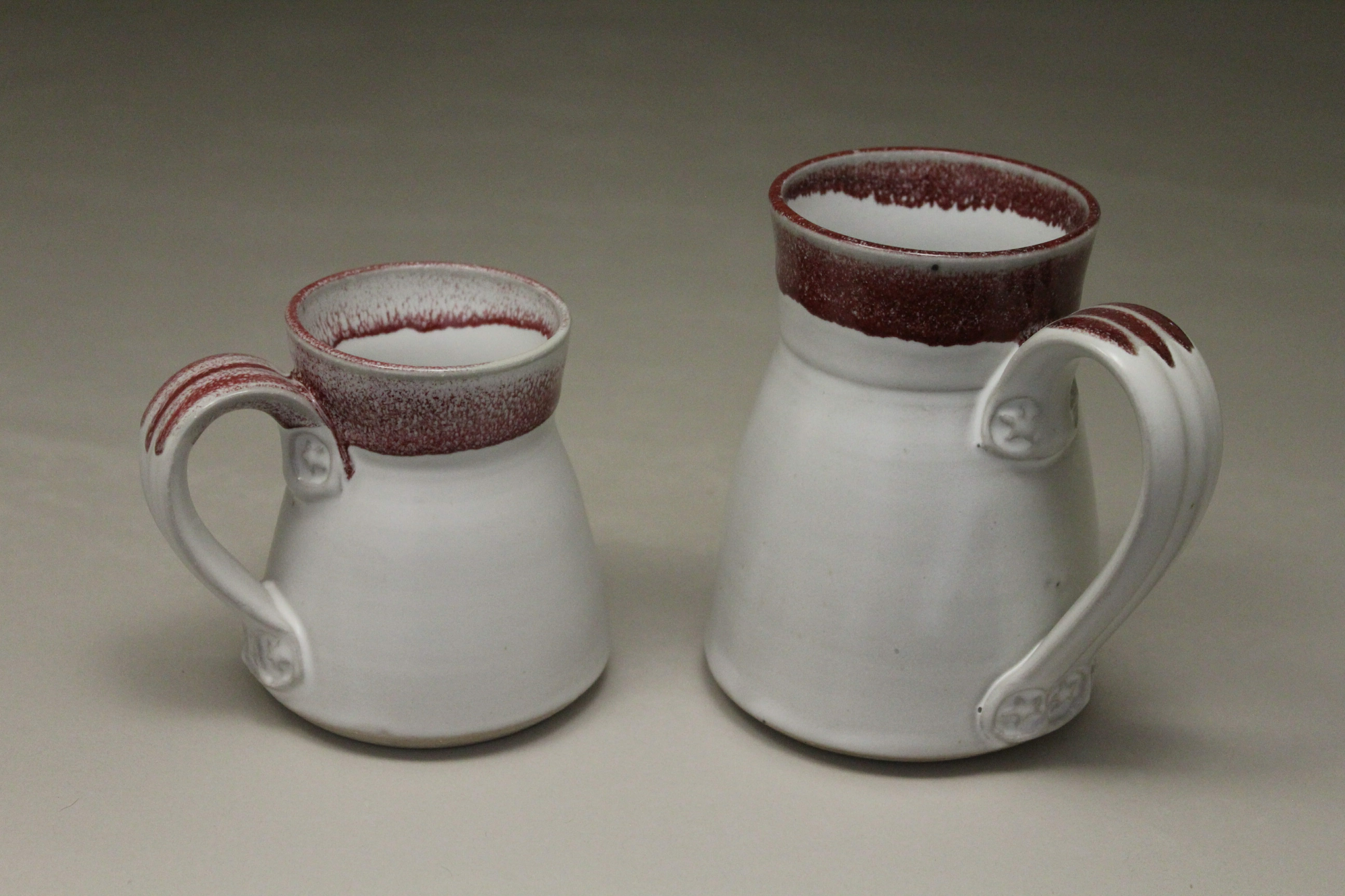 Mug, Small or Large Sizes, Smooth Design in White and Red Glaze