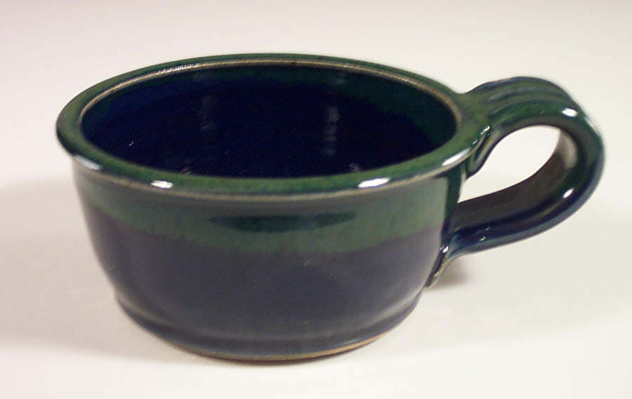 Soup Mug, Smooth Design in Blue and Green Glaze