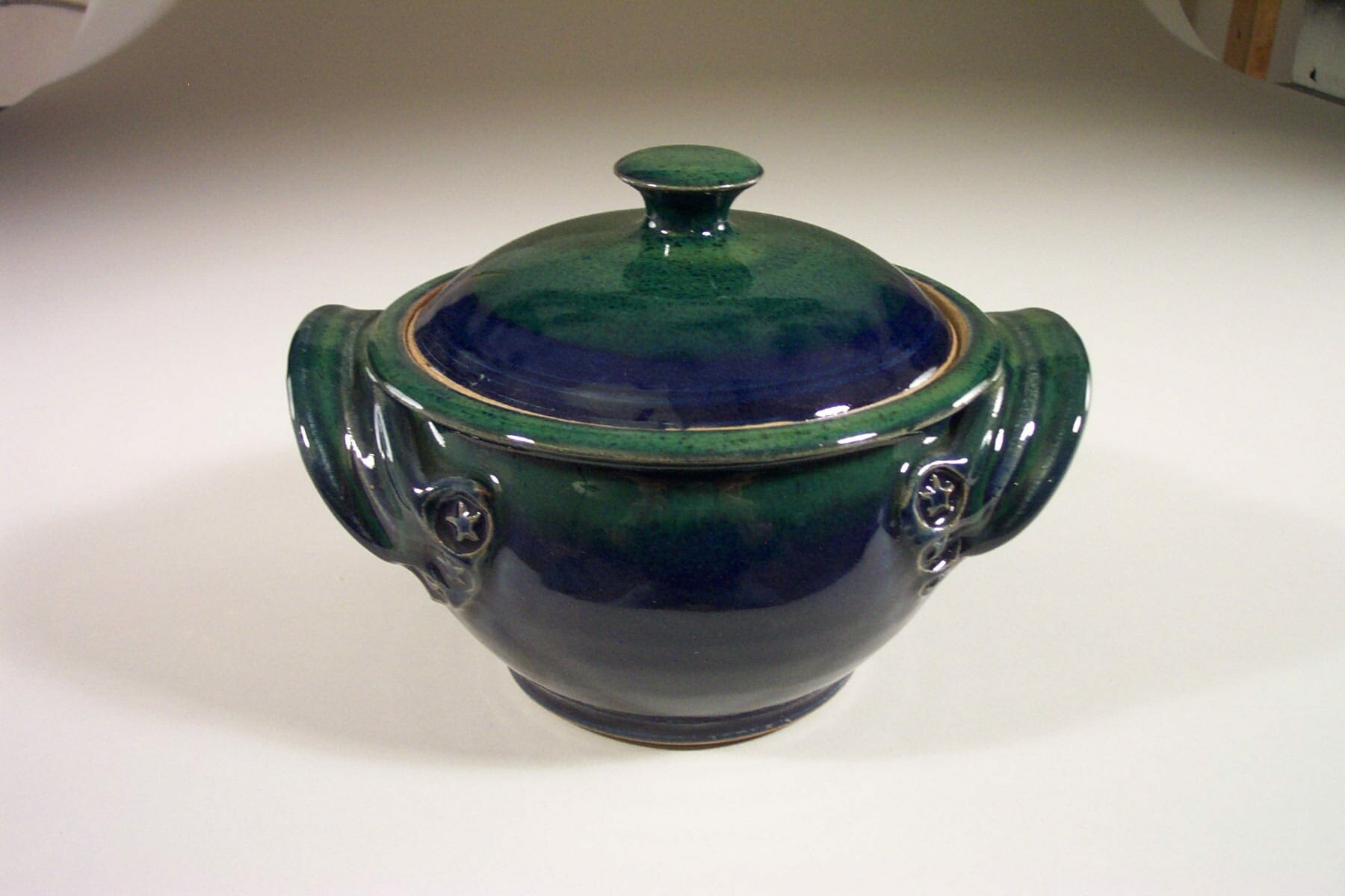 Small Casserole 1 with Lid Smooth Design in Dark Blue and Green Glaze