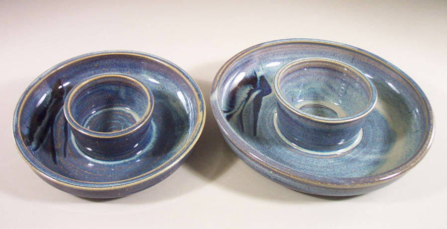 Chip and Dip Smooth Design Small  and Large Sizes in Rutile Blue Glaze with Dark Blue Stripes