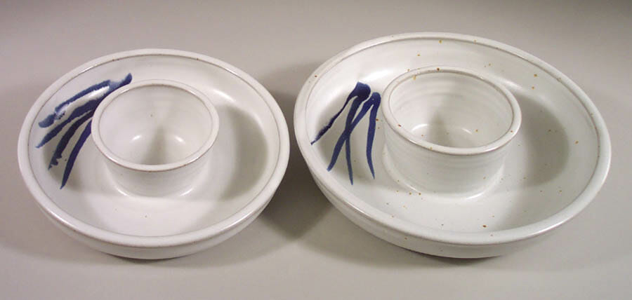 Chip and Dip Tray, Small and Large Sizes, Smooth Design in White Glaze with Dark Blue Stripes