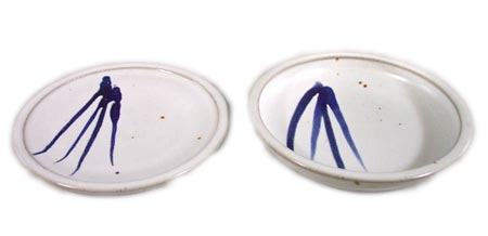 Small Dinner Plate and Salad Plate Smooth Design in White Glaze with Dark Blue Stripes
