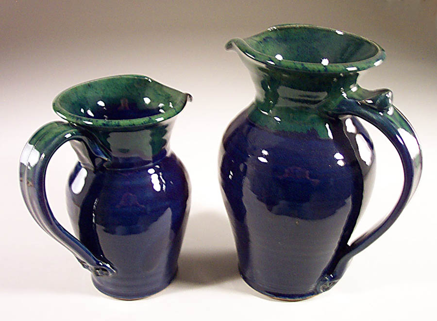 Pitcher, Small or Large, Smooth Design in Dark Blue and Green Glaze