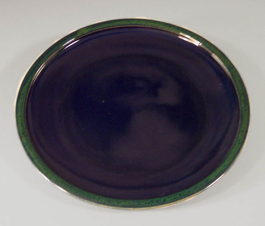 Small Platter Smooth Design in Dark Blue and Green Glaze