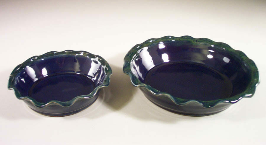 Pie Plates Small or Large Sizes in Dark Blue and Green Glaze with Rippled Rim