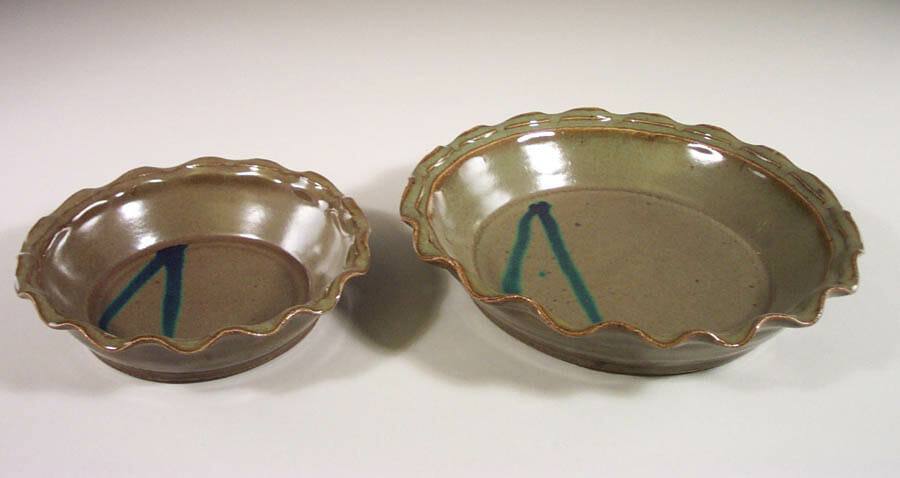 Pie Plates Small orLarge Sizes in Green Glaze with Rippled Edge and Dark Blue Stripes