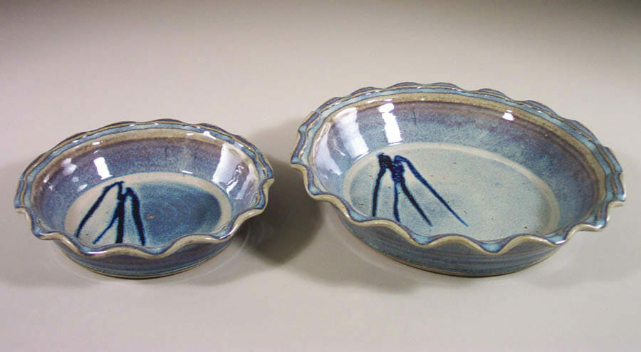 Pie Plates Small and Large Sizes in Rutile Blue Glaze with Rippled Edge and Dark Blue Stripes